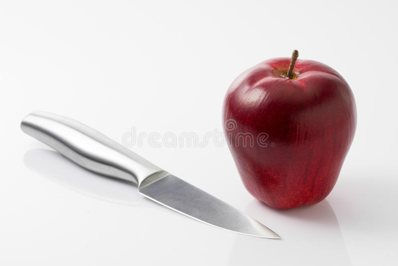 Apple en mes op wit stock foto