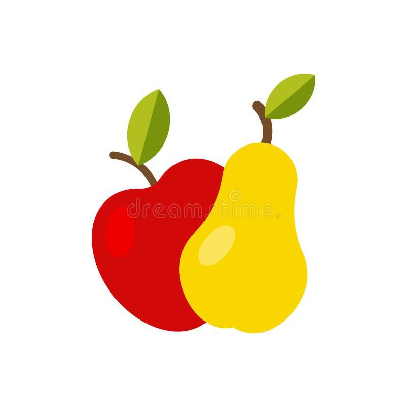 Apple en peer geïsoleerd pictogram royalty-vrije illustratie