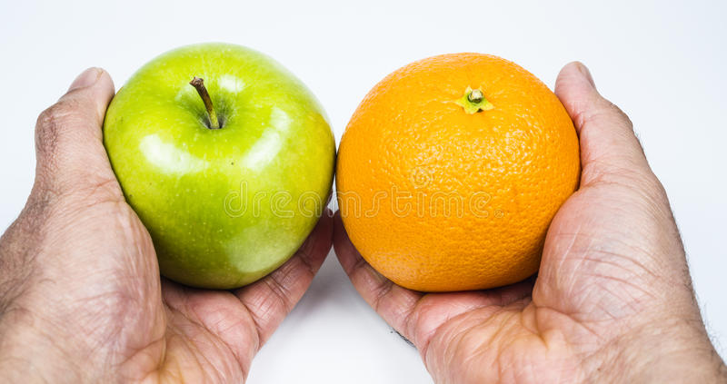 Apple en sinaasappel royalty-vrije stock afbeelding