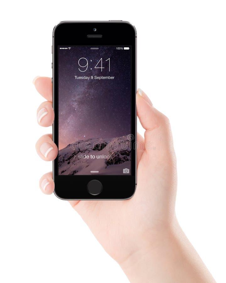 Apple espaça o iPhone cinzento 5S com a tela do fechamento na exposição no fe fotos de stock royalty free