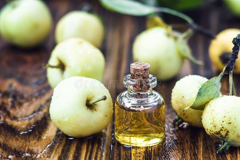 Apple-Essig im Glasgefäß mit reifer grüner Frucht Flasche organischer Essig des Apfels auf hölzernem Hintergrund Gesundes biologi stockbild