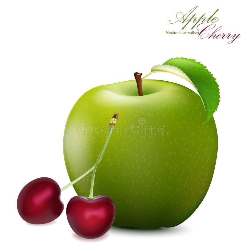 Apple et Cherry Set Pomme 3d et cerises réalistes détaillé illustration stock