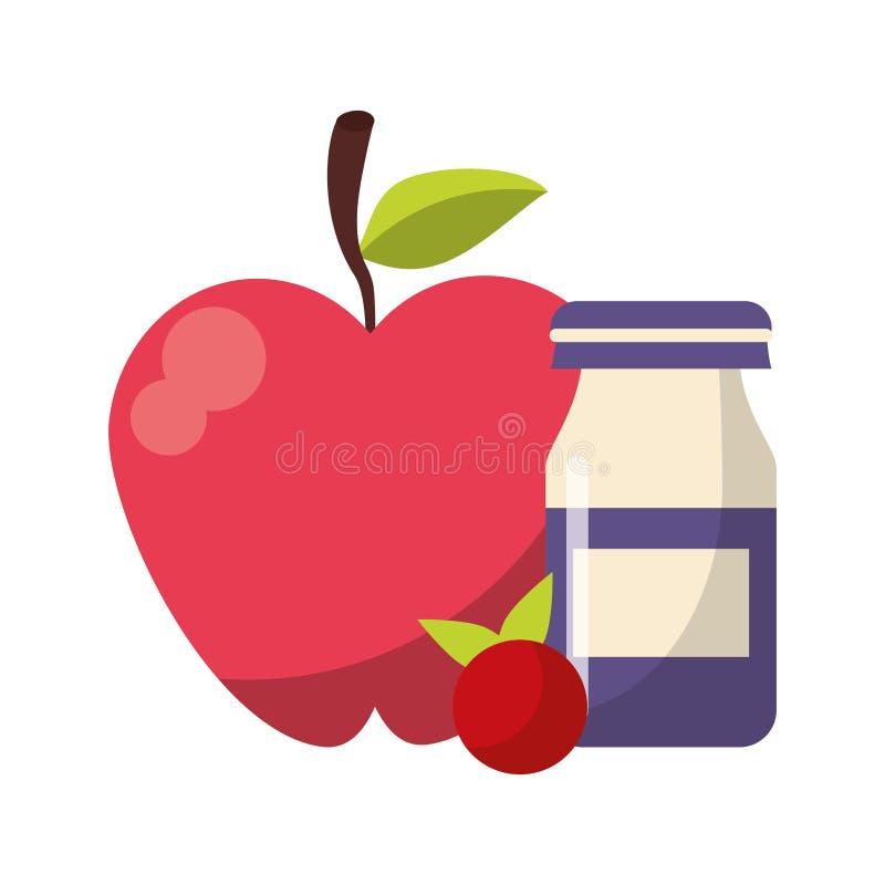 Apple et fruit rouge avec la bouteille de yogurth illustration libre de droits