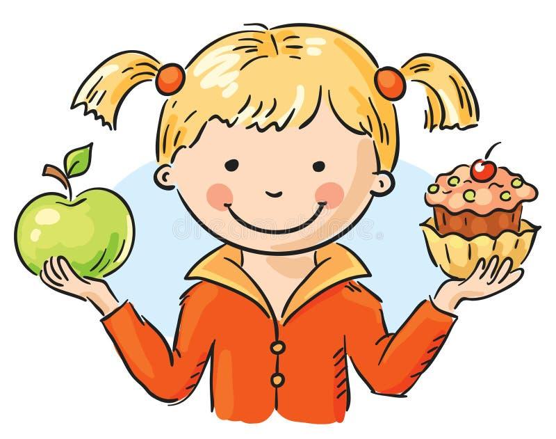 Apple et gâteau illustration libre de droits