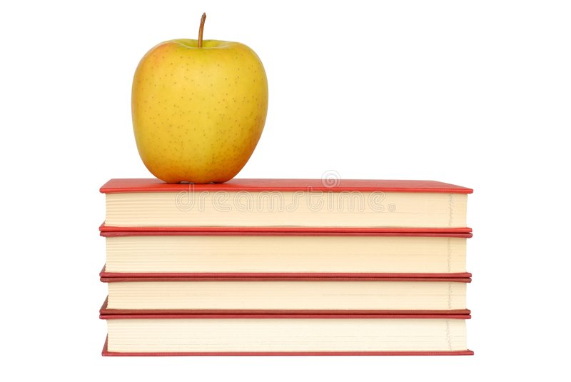 Apple et livres images stock