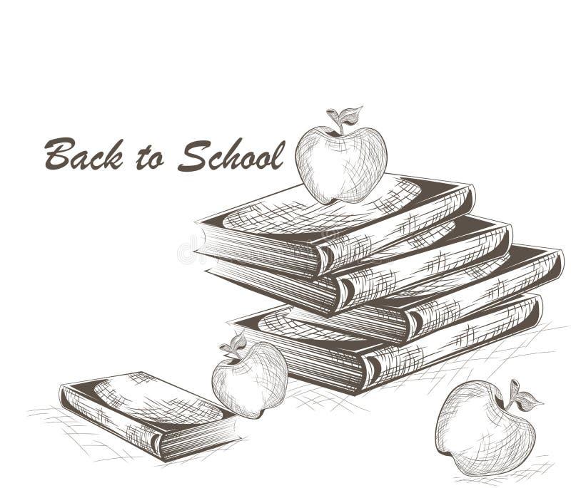 Apple et livres gravant le style illustration de vecteur