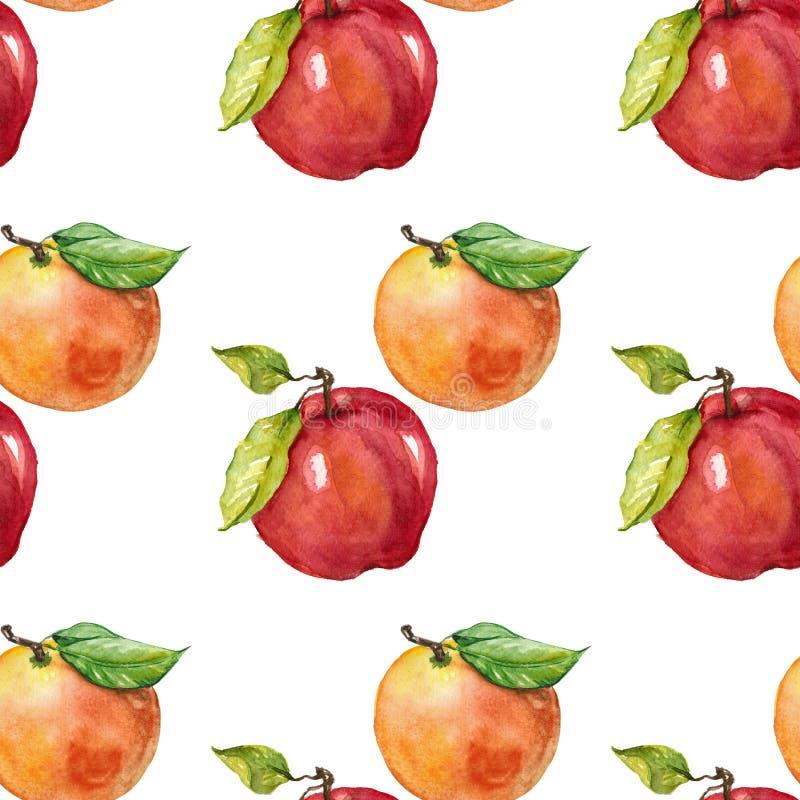 Apple et orange Modèle sans couture d'aquarelle illustration de vecteur