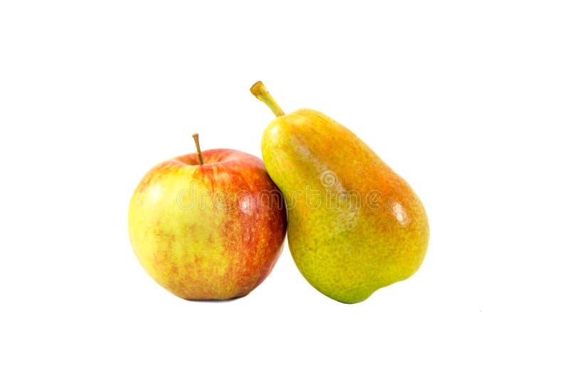 Apple et poire ensemble d'isolement image stock