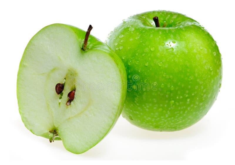 Apple et sa section transversale photos stock