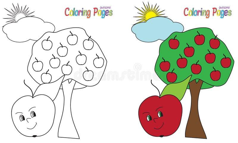 Apple för färgläggningbok träd vektor illustrationer