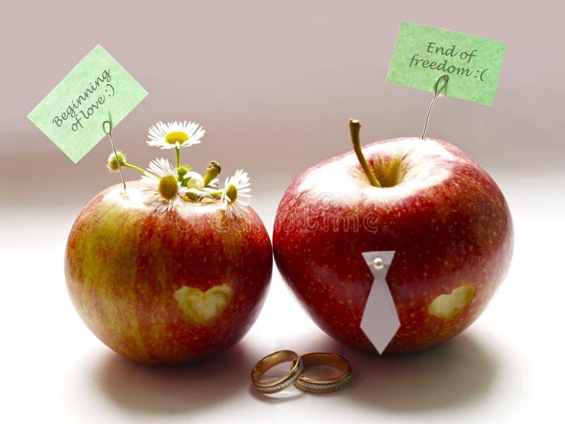 Apple förhållande bröllop arkivfoton