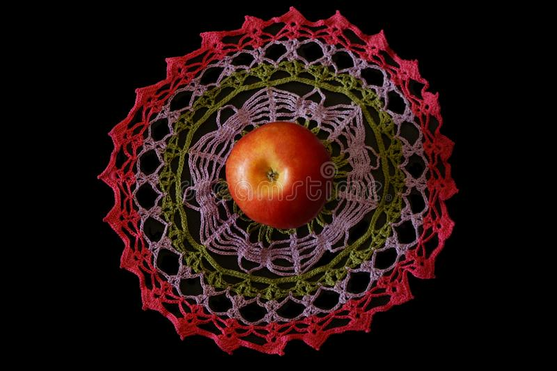 Apple fabric knitted decorative. crochet, crafts, country stock photography