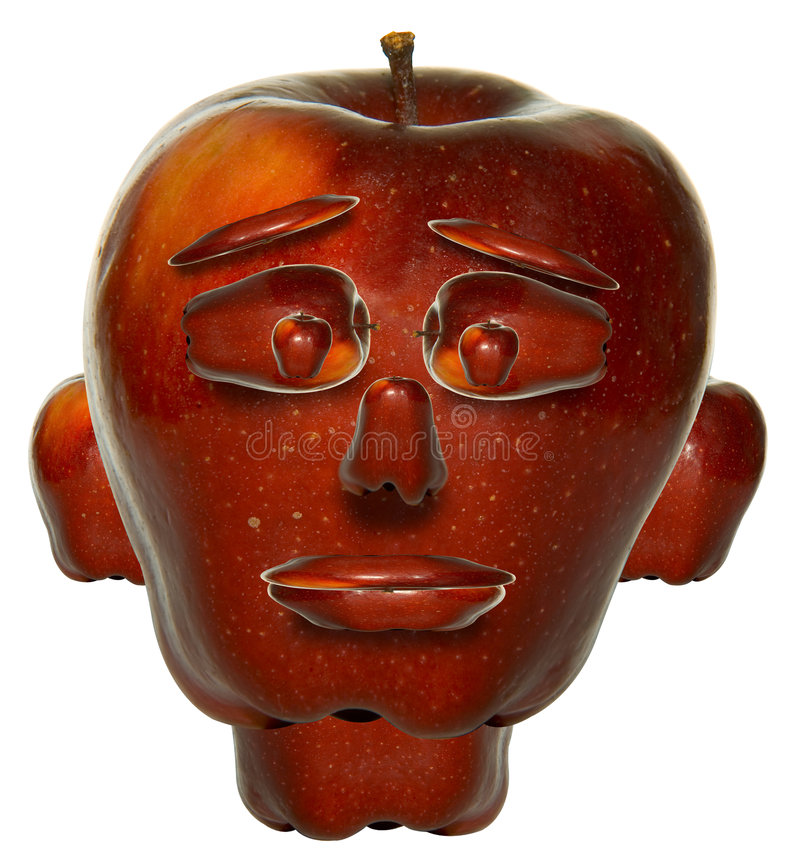 Apple face. Face made of apple stock illustration