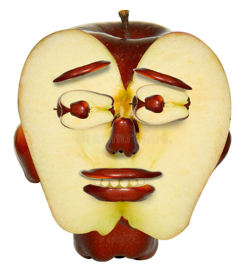 Apple face. Face made of red apple vector illustration