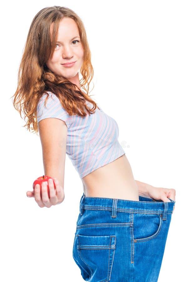 Apple faz dieta realmente ajudas para perder o peso! imagem de stock