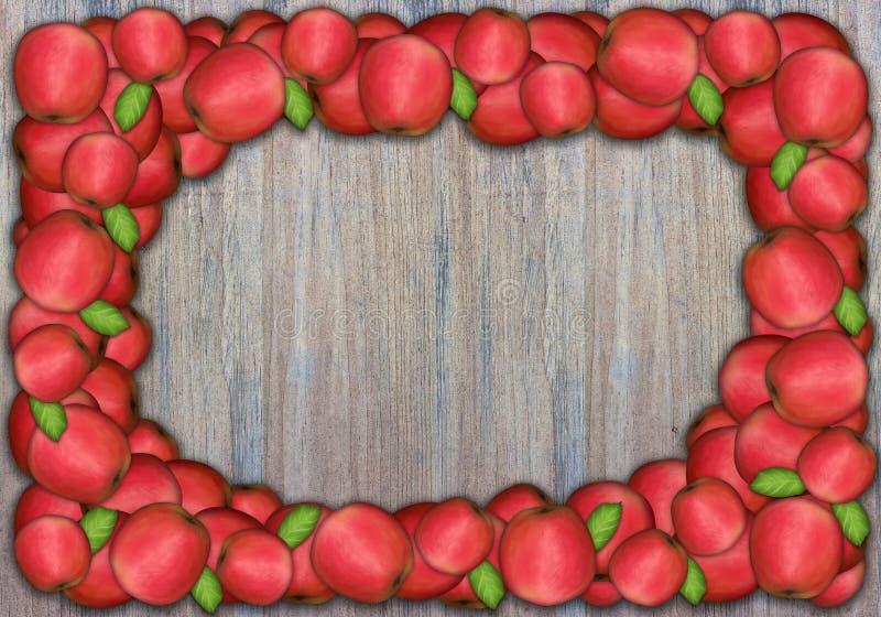 Apple-Feld auf hölzerner Wand für Danksagung lizenzfreie abbildung