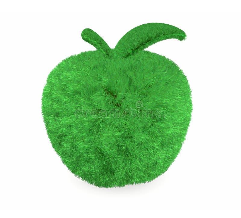 Apple fez com grama verde ilustração stock