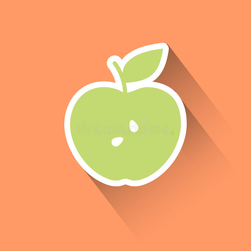 Apple flat icon. Silhouette design with leaf stock illustration