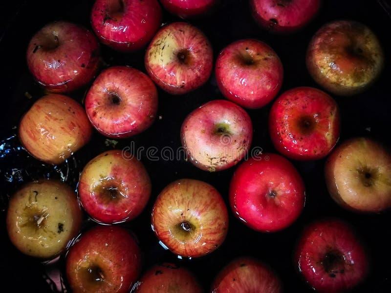 Apple flotte dans l'eau, images dans des tons foncés Pousse avec le phone photographie stock