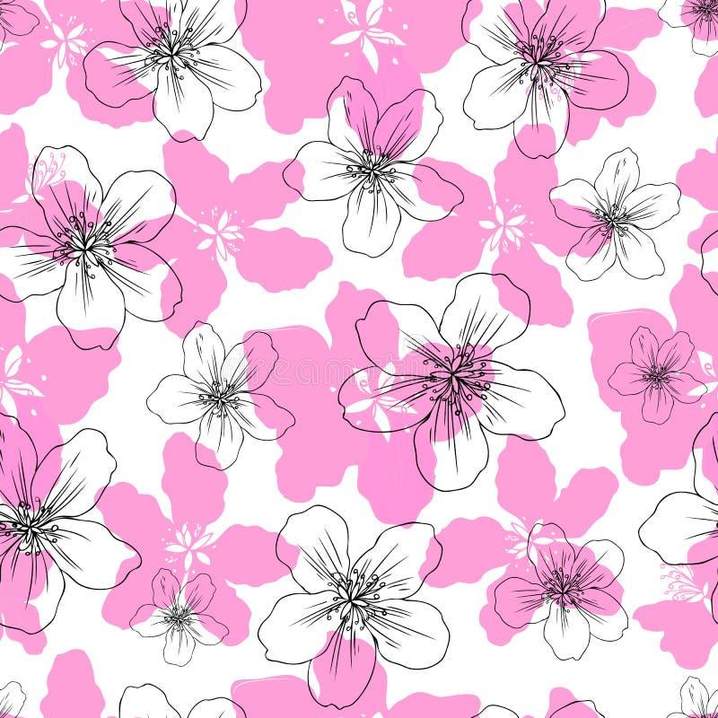 Apple flower blossom hand drawn isolated on white background, seamless vector floral pattern, pink sakura outline art vector illustration