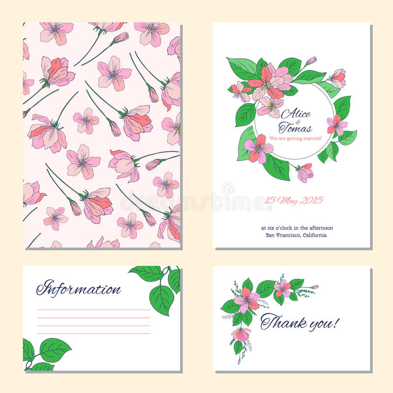 Apple flower, leaf hand drawn isolated on white background, seamless vector floral pattern, pink sakura line art texture vector illustration