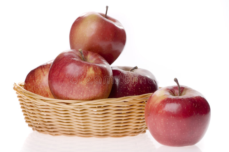 Apple food in a basket stock images
