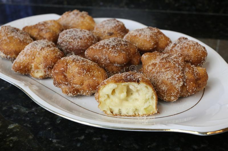 Apple Fritters typical sweet for christmas royalty free stock photo