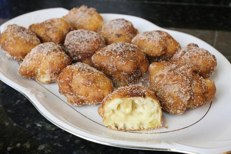 Apple Fritters typical sweet for christmas royalty free stock photos