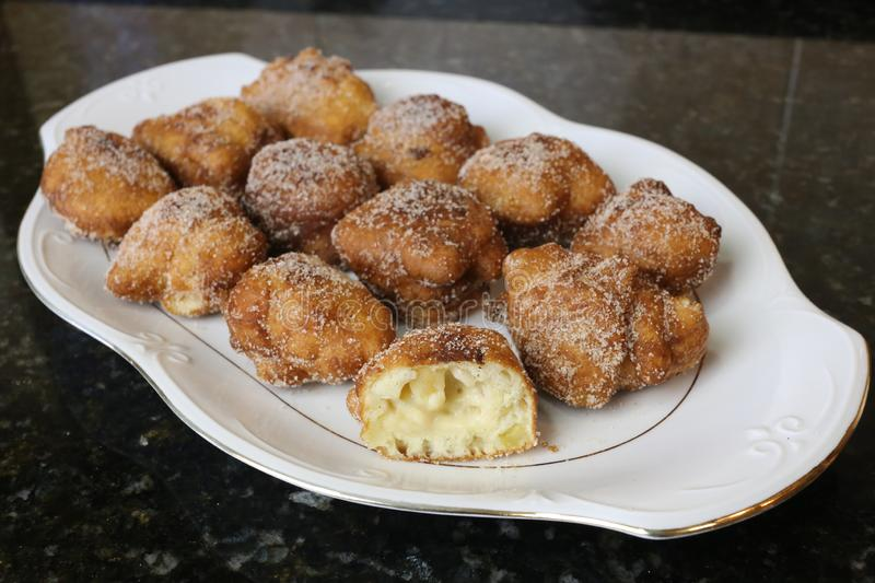 Apple Fritters typical sweet for christmas stock photography
