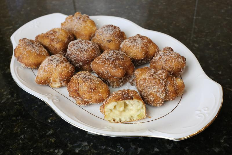Apple Fritters typical sweet for christmas royalty free stock image