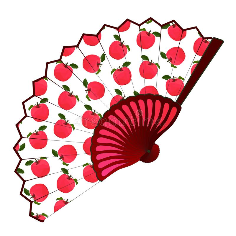 Apple fruit folding fan, vector isolated illustration royalty free stock photos