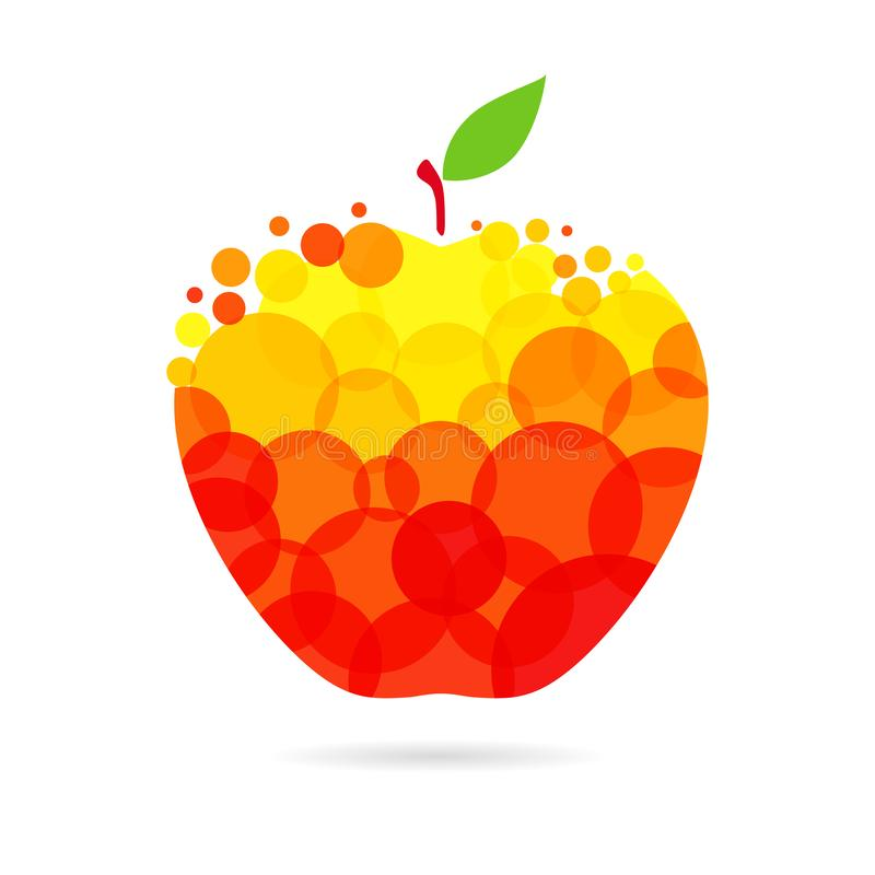 Apple fruit logo. Apple logotype concept. Red and yellow coloured fruit logo idea with bubbles on white background. Isolated abstract graphic design template stock illustration