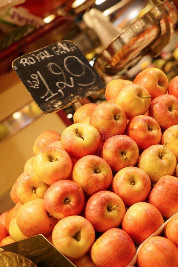 Apple, Fruit market in Barcelona, Spain. Fruit market in Barcelona, Spain royalty free stock photos