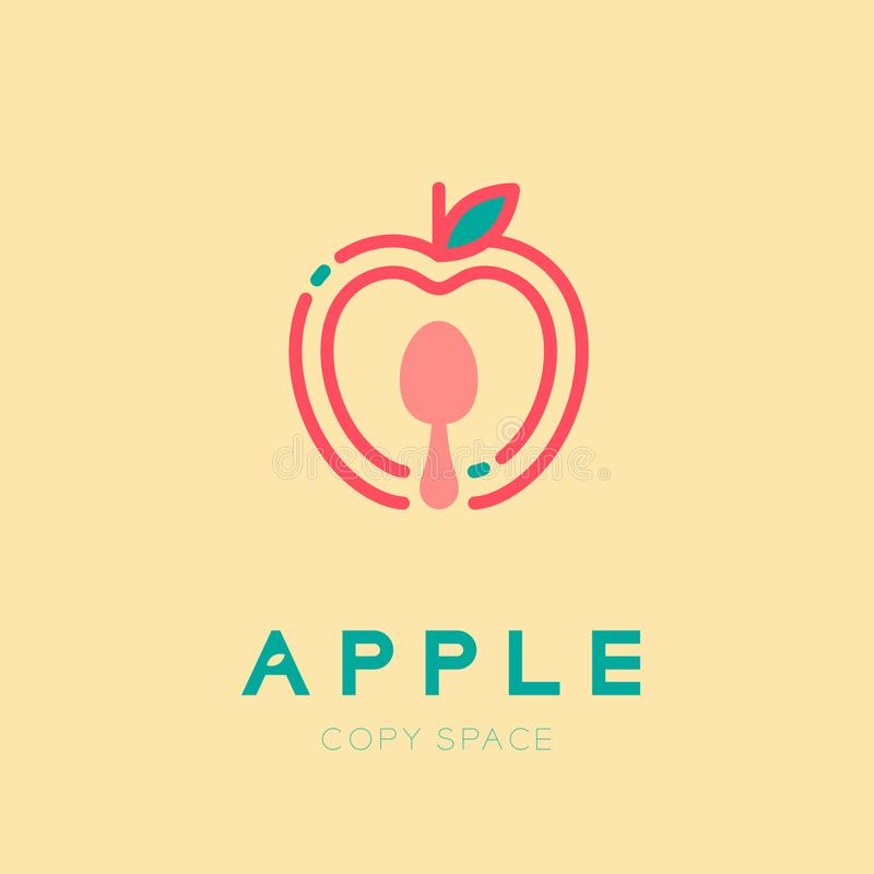 Apple fruit with spoon logo icon outline stroke set design illus. Tration isolated on cream background with Apple text and copy space, vector eps10 royalty free illustration