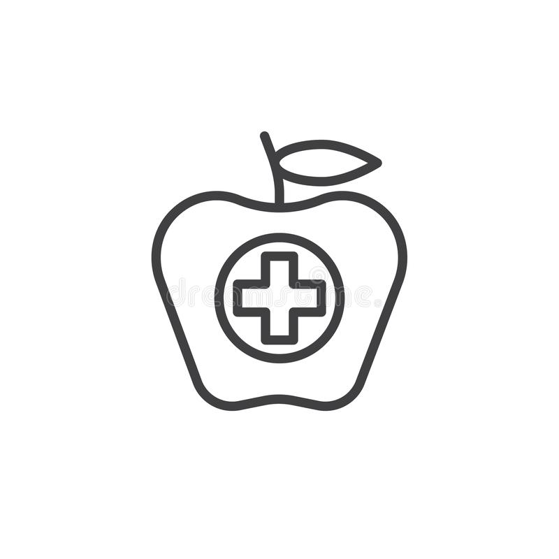 Apple fruit with a sum line icon stock illustration