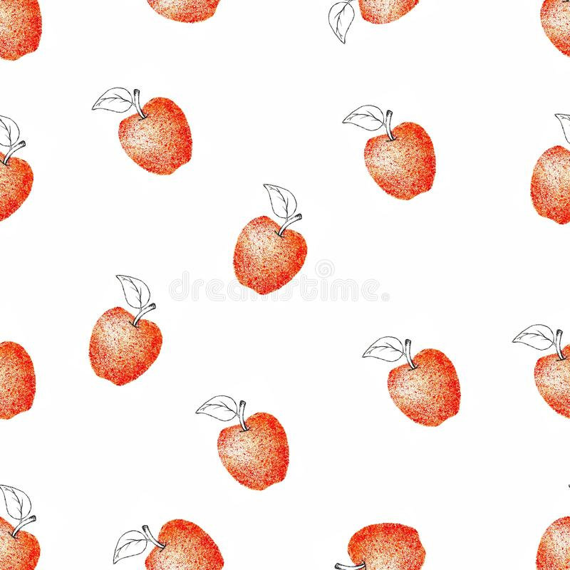 Apple fruit texture pattern watercolor. Red garden harves vitamins design illustration stock illustration