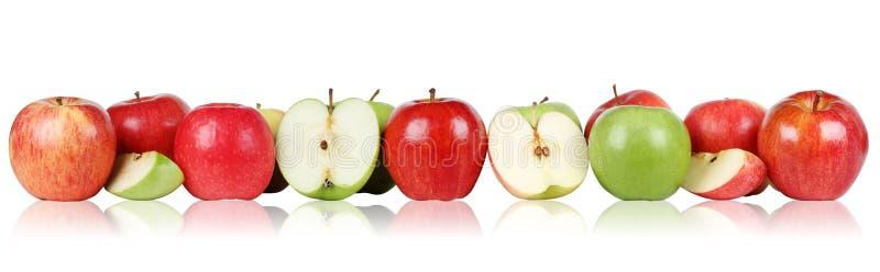 Apple fruktäpplen gränsar i rad royaltyfria foton