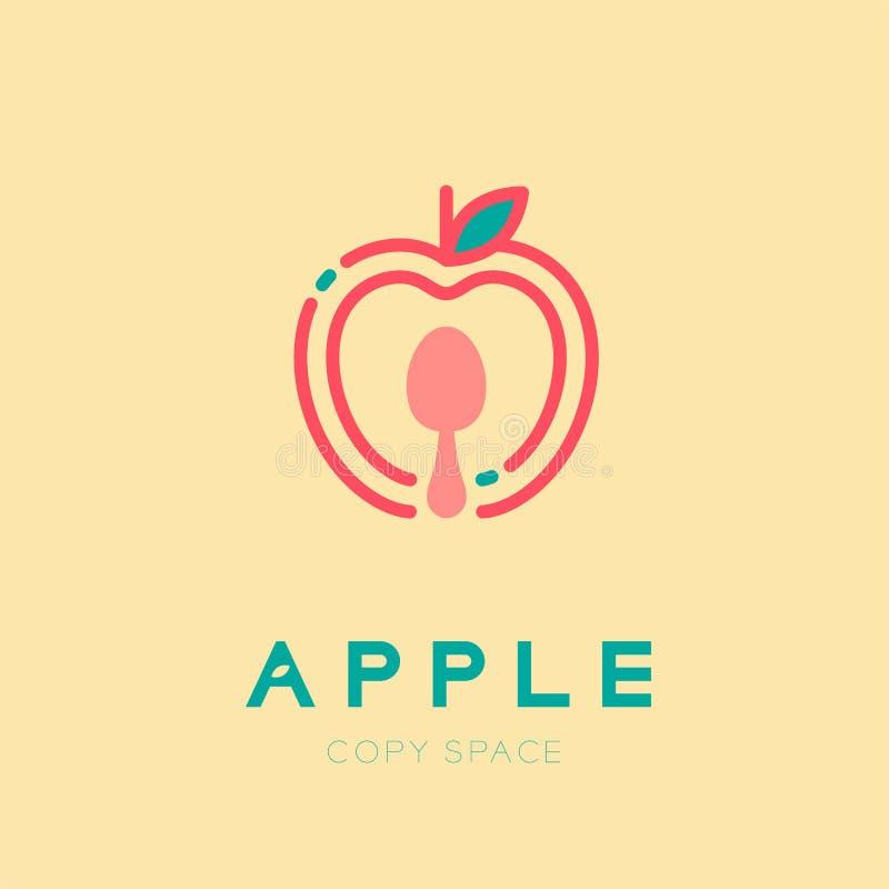 Apple frutifica com o illus da cenografia do curso do esboço do ícone do logotipo da colher ilustração royalty free