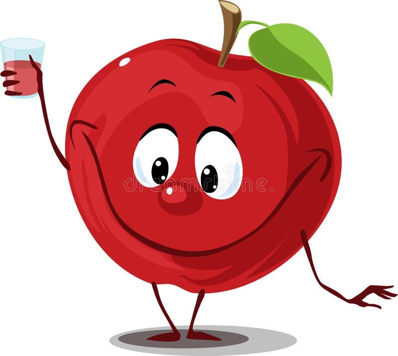 Apple fruttifica con il vetro del succo - vettore piano di progettazione del fumetto divertente illustrazione di stock