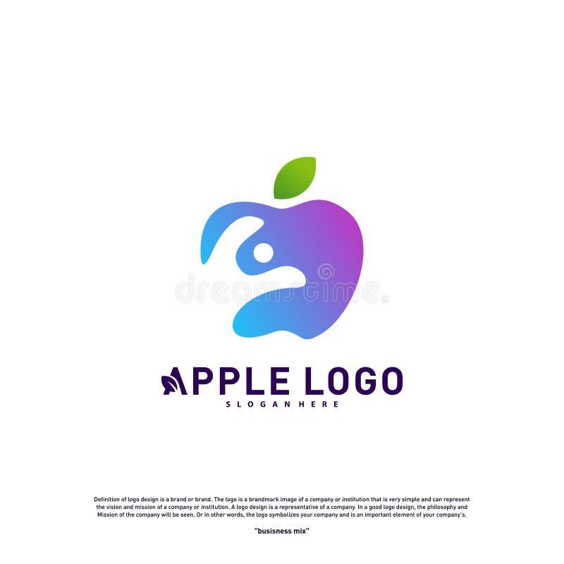 Apple with Fun People Healthy life logo concept. Apple Creative Logo vector template. Icon symbol vector illustration