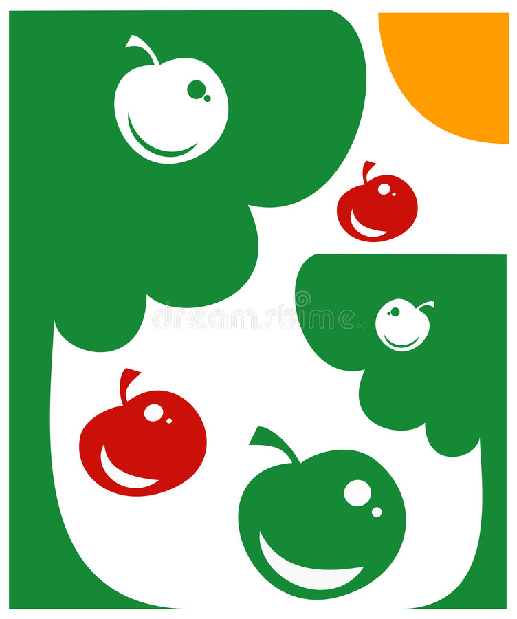 Apple-Garten, Vektor stock abbildung