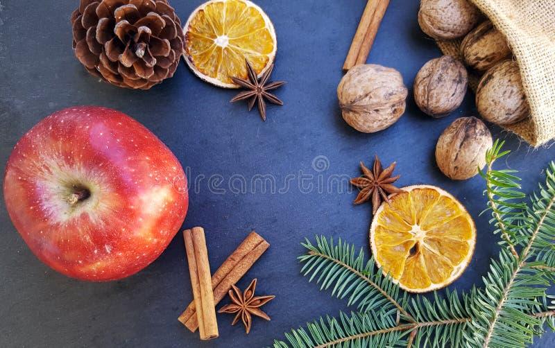 Apple, getrocknete orange Scheiben, Zimtstangen, Walnüsse und Weihnachtsbaum stockbild