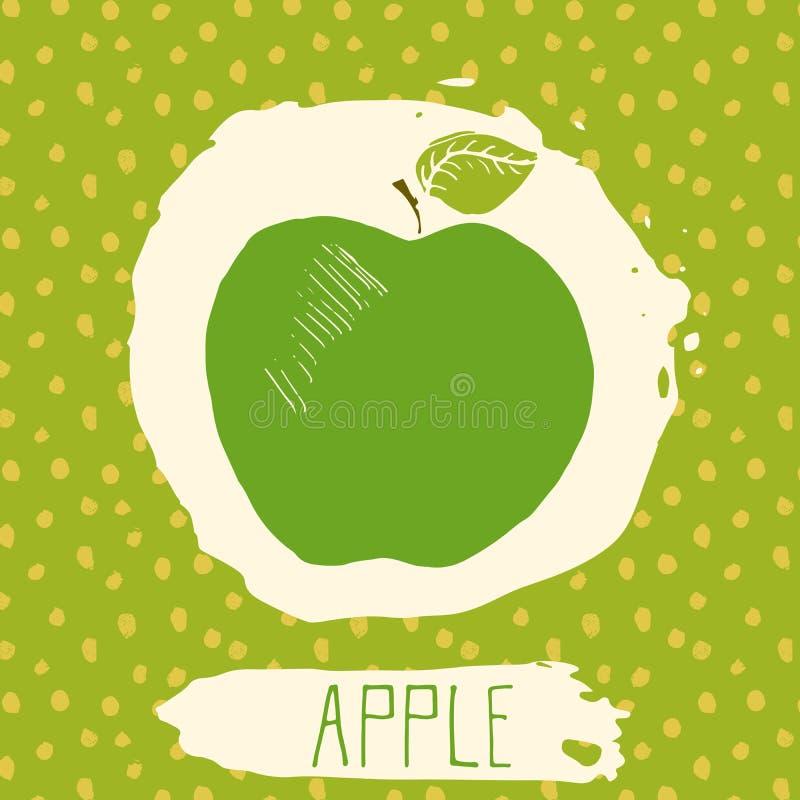 Apple-getrokken de hand schetste fruit met blad op blauwe achtergrond met puntenpatroon Krabbel vectorappel voor embleem, etiket, stock illustratie