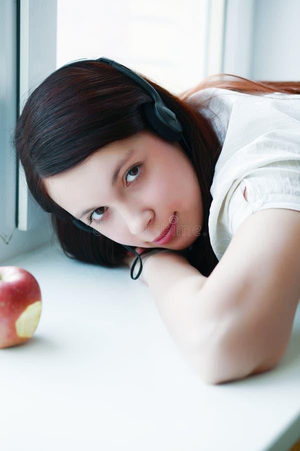 Apple girl royalty free stock photo