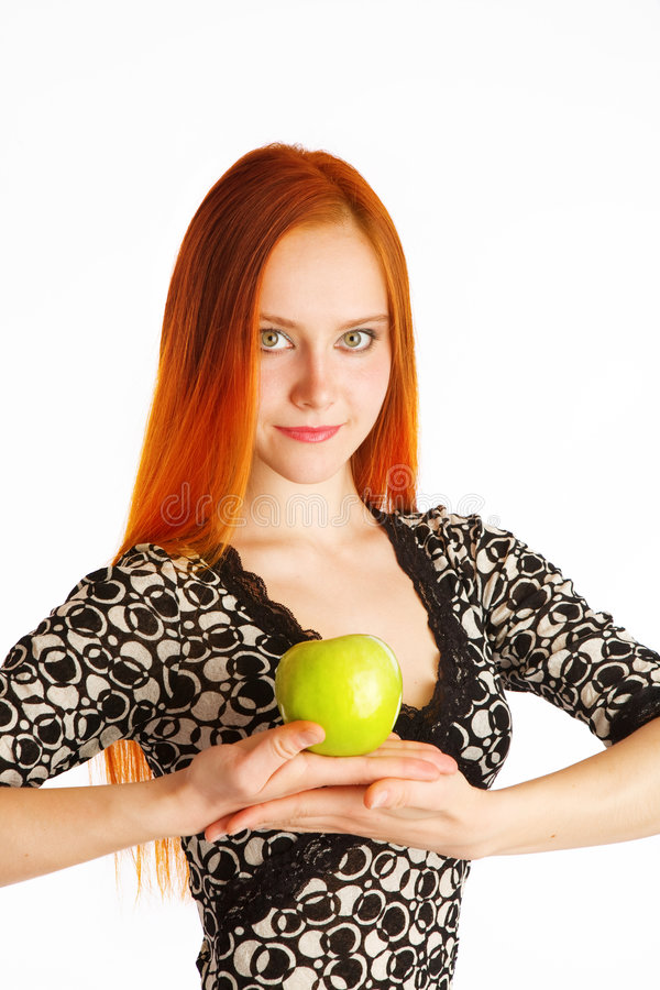 Apple And Girl Stock Image