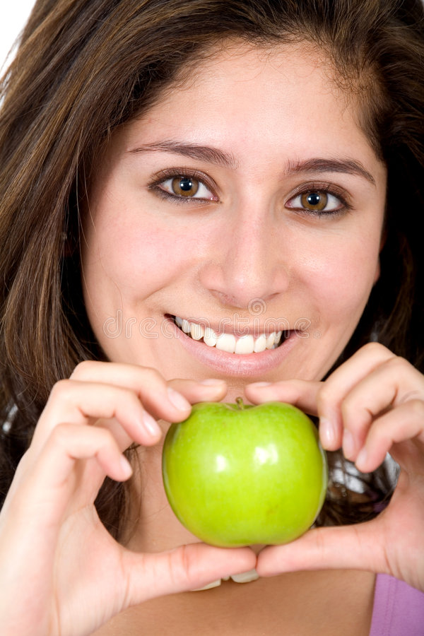 Download Apple girl in green stock image. Image of isolated, bite - 4041947
