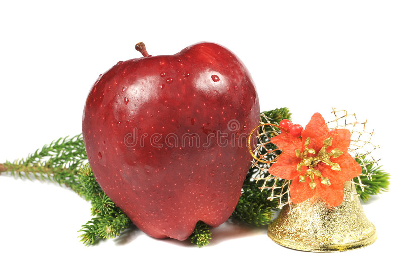 Apple and golden bell stock photos