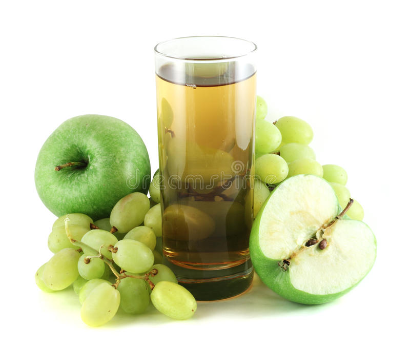 Apple and grape juice with apples and grapes stock image