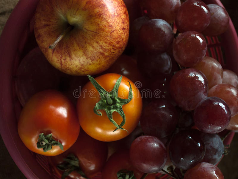 Apple grape and tomatoe royalty free stock photography