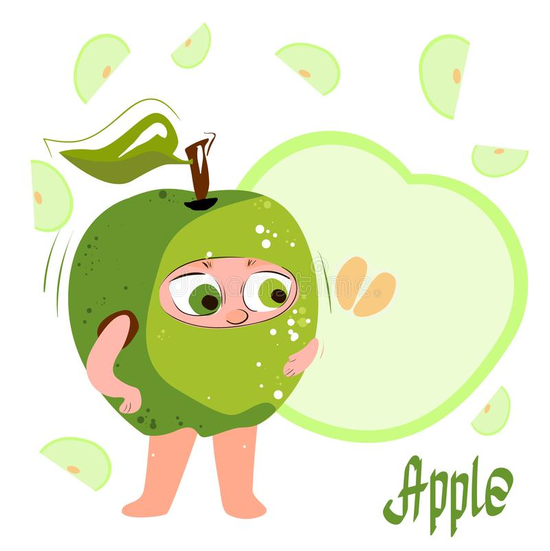 Super Apple. Green apple  Fresh juicy green cartoon character-apple. . royalty free stock photos